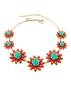 Turquoise & Coral Romarin Necklace #zulily #zulilyfinds