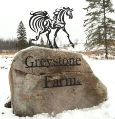 "A custom designed metal horse sign install we recently did. Cut out of 1/8"" thick steel and mounted to a rock, along with the farm name."