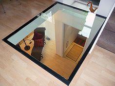 Glass floor to wine cellar