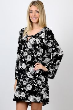 Black Flower Print Thigh High Round Neck Dress. #fashion #USA #streetwear #streetstyle #streetfashion #trend #outfit #fashionweek #fashionshow #beauty #Sleeveless #Dress Fashion Usa, Trendy Fashion, Fashion Show, Fit Flare Dress, Flower Prints, Thigh Highs, Fashion Boutique, Dress Fashion, Streetwear