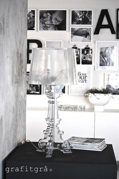 Bourgie lamp by Kartell Decorating Small Spaces, Interior Decorating, Interior Design, Monochromatic Room, Chandeliers, Black And White Interior, Kartell, Home And Living, Living Room