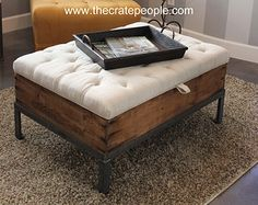 3 Crate Drawer Tufted Ottoman OR Coffee Table by TheCratePeople
