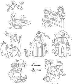 Tea Towel Embroidery Pennsylvania Dutch Days of the Week pattern PDF vintage newspaper mail away quilt apron farm animals