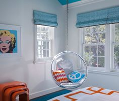 Floating Chair in Bedroom - Great idea for Children or teenagers rooms - click pic for 20+ ideas