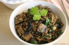 Fresh Lentils Warm Salad with Spinach and Mushrooms.. love lentils! I just replace the spinach with kale. Healthy and delicious!