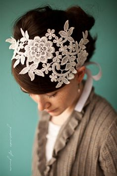 lace headband that screams #diy. cut the section of lace out as per your desires + stitch a satin ribbon to each end. a smaller version would be a nice hair accessory for bridesmaids.