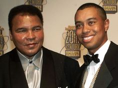 Ali, left, and golfer Tiger Woods pose together before Sports Illustrated's Century Sports Awards Thursday on Dec. Tiger Woods, Float Like A Butterfly, British Open, Sports Awards, Hometown Heroes, American Sports, Sports Figures, African Diaspora, Muhammad Ali