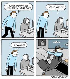 #relationship #humor #comic #webcomic #warandpeas #funny Memes Humor, Funny Jokes, Hilarious, Funny Humour, Work Related Memes, Image Gag, 4 Panel Life, Video Humour, Humor Grafico