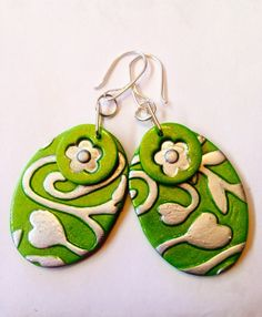 Green polymer oval drop earrings  by Jewellori on Etsy,