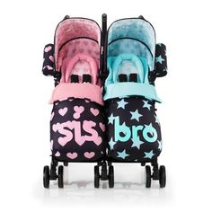 Discover double, twin and tandem strollers & buggies with personality from Cosatto. Double Strollers, Brother Sister, Skateboard, Baby Shoes, Sisters, Sport, World, Beautiful Things, Skateboarding
