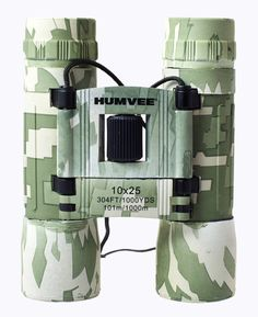 Humvee 10x25 Compact Binocular - Digital Camo - Detailed Product Description: 10x25 Compact Binocular, emerald green glass lenses, Digital Camouflage rubber coating, no-slip grip, carrying case, neck lanyard, lens cleaning clothThe HUMVEE 10X25-DC Rubber Binocular features a digital camo finish with 10x magnification, designed for hunting, sporting, bird watching, space and sky observations and more. The front objectives are 25-millimeters in diameter and let more light focus to your eye for…