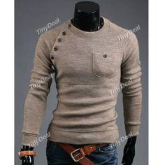 Casual Knit Crewneck Side Button Knitwear for Boy Men DCD-260907 DCD-260907