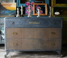 The Turquoise Iris ~ Furniture & Art: Frumpy to City Slicker Furniture Makeover
