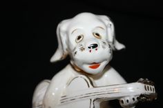 Dog Figurine Riviera Stamp Playing Guitar White Gold Trimmed Vintage Made Japan