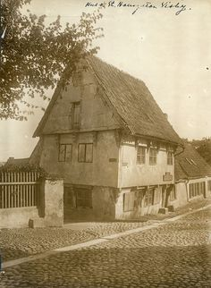 Gotland, Visby, Sweden       c1880 A house at the corner of S:t Hansgatan street and Trappgränd lane. The Hanseatic town of Visby is today a UNESCO Wor...