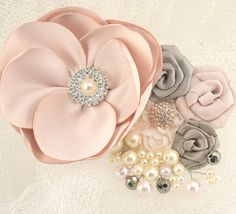 grey ivory and blush wedding   Bridal Hair Clip Bridal Fascinator in Blush Pink and by SolBijou