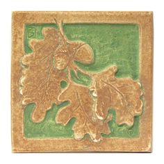Acorn & Oak Leaf Tile 4 x 4 - This handmade reproduction tile was inspired by Ernest Batchelder's Arts & Crafts tiles - LACMA Store