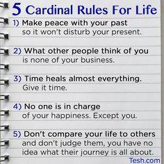 5 Cardinal Rules for Life via John Tesh #happy #healthy