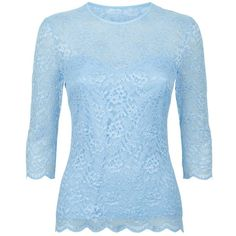 Damsel in a dress Bern Lace Top , Light Blue (€81) ❤ liked on Polyvore featuring tops, light blue, sheer blue top, sheer top, fitted tops, three quarter sleeve tops and round neck top