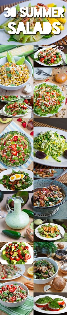 30 Summer Salads.  Very good recipes and also including recipes for a great variety of dressings. cook, 30 summer salads, food, healthi, cold summer salads, eat, cold side dishes summer, yummi, recip