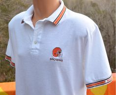 80s vintage polo golf shirt cleveland BROWNS nfl football white Large XL  bike orange stripes 0a079ab47