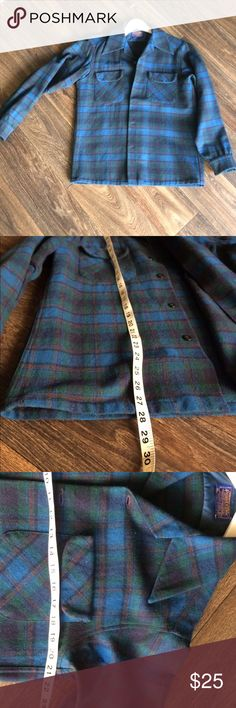 Vintage Men's Pendleton Wool Flannel This is likely from the seventies due to the pointy collars.  I only see one small hole on the upper rear shoulder, other than that it's in great shape! Pendleton Shirts Casual Button Down Shirts