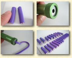 How to make faux colored pencils using the extruder.  In French. #polymer clay #tutorial