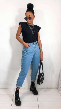 Edgy Outfits, Cute Casual Outfits, New Outfits, Fashion Outfits, Star Fashion, Look Fashion, Girl Fashion, Looks Pinterest, Jeans Bleu
