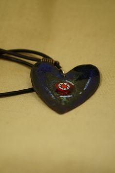 Corazón esmaltado en placa de cobre con millefiore de vitrumkaleidos en Etsy