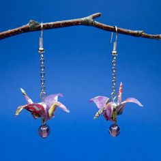 Items similar to Origami Crane earrings; resin-coated washi paper, dangle drop, purple on Etsy Resin Coating, How To Make Earrings, Washi, Crane, Origami, Glass Beads, Unique Gifts, Dangles, Drop