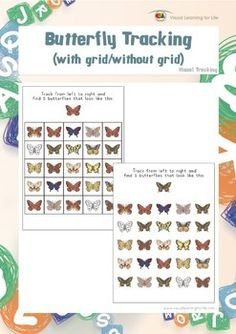 "In the ""Butterfly Tracking"" worksheets, the student must find all the butterflies that look the same as the example at the top of the page. The student's eyes must move from left to right along each row (not deviate up or down). Available at www.visuallearningforlife.com on the Visual Tracking Skills Builder CD."