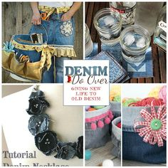 Happy Weekend! Itching for a fun craft project? Got Some old jeans? Nineteen awesome new projects crafted from old jeans or repurposed denim have been added to Denim Do Over this past month! No-Sew...
