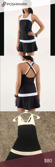 Lululemon Hot Hitter Dress - Black and White Moisture-wicking and breathable Power Luxtreme fabric helps keep us cool when we're laying down the heat. We made the skirt with lightweight and four-way stretch Power Stretch Swift fabric.   Key features lightweight and breathable Power Luxtreme fabric in the body wicks sweat four-way stretch Power Stretch Swift fabric allows for full lateral movement hidden pocket in the shelf bra keeps your keys safe layer this dress over shorts to prevent…