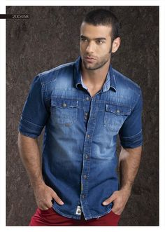 Camisa-para-hombre-en-indigo-manga-tres-cuartos-denim-shirt-for-men- three-quarter-sleeves