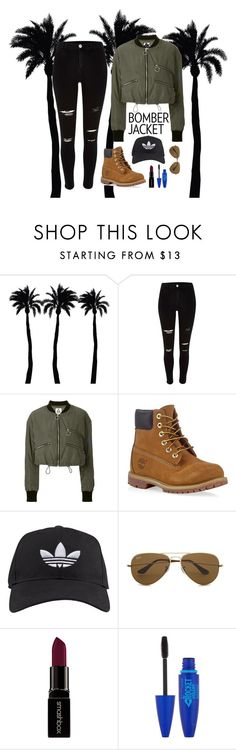 """Bomber Jacket"" by lmp202 ❤ liked on Polyvore featuring Dot & Bo, UNIF, Timberland, adidas, Ray-Ban, Smashbox, Maybelline, women's clothing, women and female"