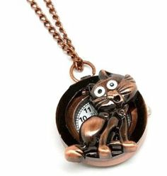 Cat Pendant Watch LONG Necklace Kitty Antique Copper Tone New [Jewelry] Recyclebabe. $24.88. Sparkling Crystal. Trendy Fashion Jewelry
