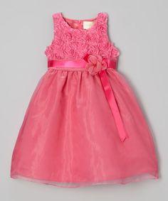 Look at this #zulilyfind! Fuchsia Rosette Overlay Dress - Girls by JC EDITION #zulilyfinds
