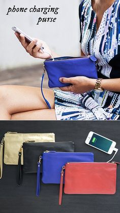 This leather wristlet is ready to give your phone a boost as well as your wardrobe.
