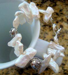 Pulsera de cuentas de perlas de agua dulce de palo y plata