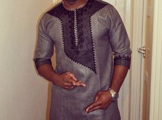 Grey African Shirt. Black embroidery detail by BournLoondonLtd
