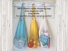 Our new extra large capacity bags with extra large handles are in, they are 100% organic cotton, what's not to love :)