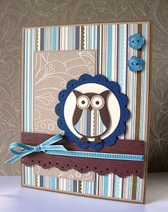 stampin up owl punch card ideas - Yahoo Image Search Results Owl Punch Cards, Owl Card, Animal Cards, Masculine Cards, Scrapbook Cards, Scrapbook Albums, Creative Cards, Cute Cards, Baby Cards