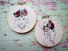 Phaedra is boho beautiful! She has a hand stitched floral crown over printed outlines. She looks lovely with her other floral crown friends (see images 4 and 5 for examples - sold separately). She comes ready to hang and would be a lovely gift for that quirky friend. Details: -
