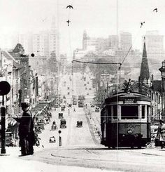 A Tram travels up William Street, Sydney towards Kings Cross. Photo dated v Historical Artifacts, Historical Pictures, Aboriginal History, Williams Street, Sydney City, Melbourne Victoria, Largest Countries, Vintage Travel Posters, Sydney Australia