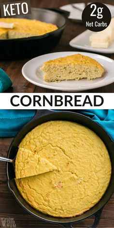 This easy coconut flour keto cornbread recipe is made with just 5 ingredients! It's a satisfying low-carb bread to serve with soups & salads. Healthy Low Carb Dinners, Low Carb Dinner Recipes, Low Carb Keto, Low Carb Recipes, Easy Meals, Cooking Recipes, Keto Dinner, Bread Recipes, Healthy Breads