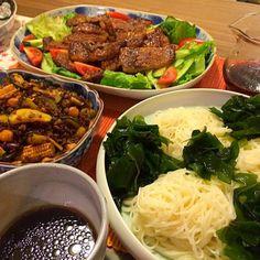 レシピとお料理がひらめくSnapDish - 23件のもぐもぐ - 豚ロース味噌漬け、ズッキーニ・ベビーコーンのタコスミート風、ワカメ素麺 by Junya Tanaka