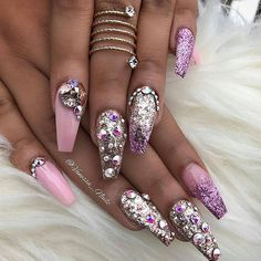 Pink, Lavender, and Silver Glitter Ballerina Nails With Rhinestones.