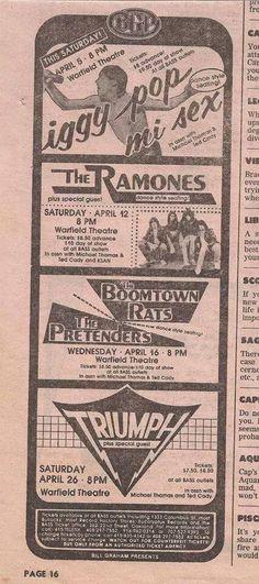 Iggy Pop 1980 The Pretenders, Iggy Pop, Ramones, Flyers, Rock N Roll, Music, Musica, Ruffles, Musik