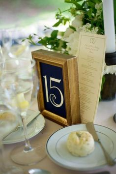 Gold & Blue Table Numbers  @Four Seasons Bridal