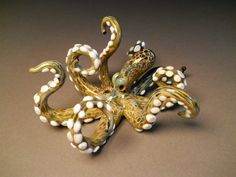 Art Glass Octopus Sculpture with tentacles by Glassnfire on Etsy